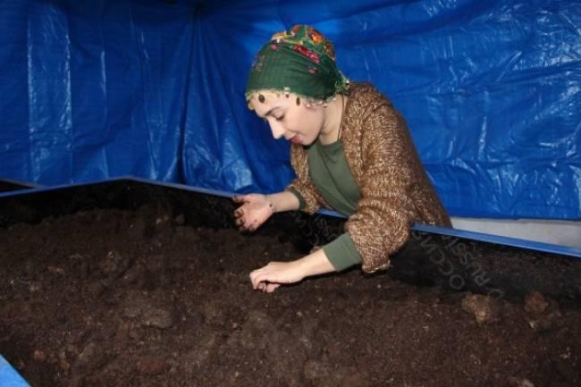 3 milyon solucanla gübre üreten çiftçi kadın